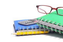 Book, glasses and pen Royalty Free Stock Photo