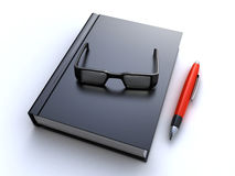 Book, glasses and pen Royalty Free Stock Images