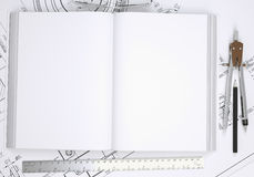 Book, glasses, ruler, compass and pencil Stock Photography