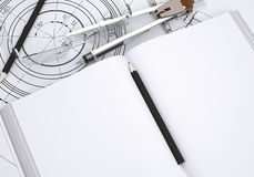 Book, glasses, ruler, compass and pencil. Lie on the drawing. 3d render Royalty Free Stock Photography