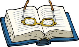 Book with glasses. On a white background illustration Stock Images