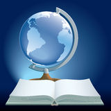 Book and globe. Vector illustration of book and globe on blue background Stock Photography
