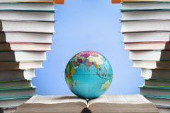 Book and globe. Ancient ancient scroll art astronomy background black Royalty Free Stock Photo