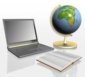 Book, globe and laptop Royalty Free Stock Photography