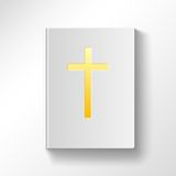 Book with a gold cross. Top view Stock Photography