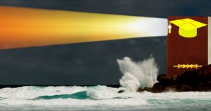 Book, gold student cap as lighthouse in stormy sea stock photo