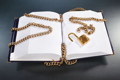 Book with golden chain and lock Royalty Free Stock Photography