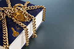 Book with golden chain and lock Royalty Free Stock Photos