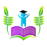 BOOK GRADUATE WITH LEAF Royalty Free Stock Image