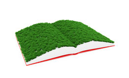 Book with grass pages. 3d illustration of opened book with grass on pages Royalty Free Stock Photography