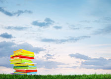 Book on the grass. Under a blue sky Stock Image