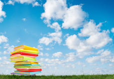 Book on the grass. Under a blue sky Royalty Free Stock Images