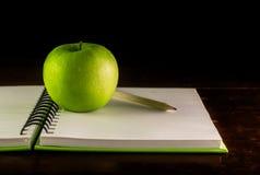 Book,green apple and pencil Stock Photos