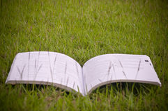 A book in the green field Stock Photos
