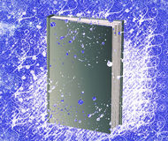 Book and grunge background. Corrupted modern book on blue grungy background Royalty Free Stock Photo
