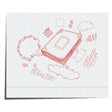 The book is hand-drawn with a cloud of thoughts. For advertising vector illustration