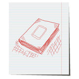The book is hand-drawn on notebook sheet. For advertising royalty free illustration