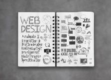 Book of  hand drawn web design diagram Stock Photo