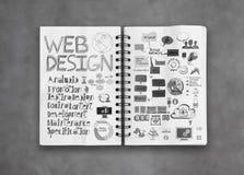Book of  hand drawn web design diagram Stock Photo