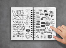 Book of  hand drawn web design diagram Royalty Free Stock Photo