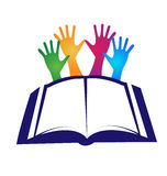 Book and hands logo Royalty Free Stock Photos