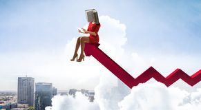 Book headed woman. Business efficiency concept. Mixed media stock photography