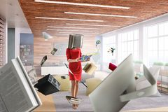 Book headed woman. Business efficiency concept. Mixed media stock image