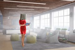 Book headed woman. Business efficiency concept. Mixed media stock photos
