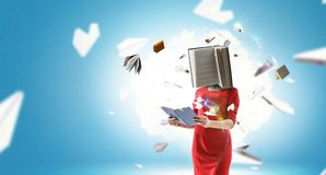 Book headed woman. Business efficiency concept. Mixed media royalty free stock image