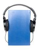 Book with headphones Stock Photo