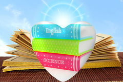 Book heart in books background for showing books love Royalty Free Stock Image
