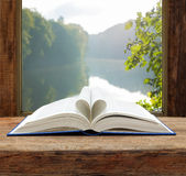 Book heart shape page open window summer river Royalty Free Stock Photos