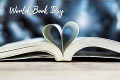 Book in heart shape, wisdom and education concept, world book and copyright day royalty free stock photography