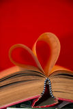 Book with heart shaped Stock Photography