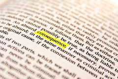 Book Highlighted Word Yellow Fluorescent Marker Paper Old Keyword Consequence royalty free stock photo