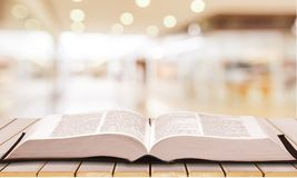 Holy Bible book on background. Book holy bible table background light old royalty free stock photos
