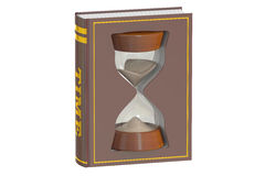 Book with hourglass, 3D rendering Stock Photography
