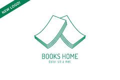 Book house roof template logo icon. Back to school. Education, university, college symbol or knowledge, books stack, publish, page paper. Design element Royalty Free Stock Photography