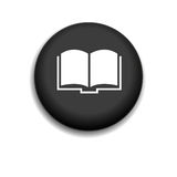 Book icon. Black button on a white background Royalty Free Stock Photo