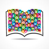 Book Icon colorful graduate student icon Royalty Free Stock Images