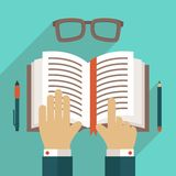 Book icon with hand Royalty Free Stock Photography