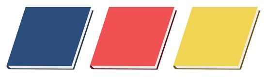 Book, icon, red, pink, yellow, blue, school, textbook, monograph, dissertation, science, education, university, college, notebook. Book icon, school textbook Stock Photography