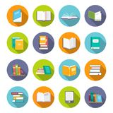 Book icon set. Learning facts, information, descriptions, or skills, study or investigation textbooks. Vector flat style cartoon illustration isolated on white Royalty Free Stock Images