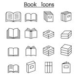 Book icon set in thin line style vector illustration