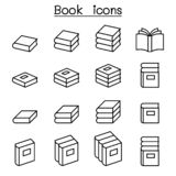 Book icon set in thin line style stock illustration