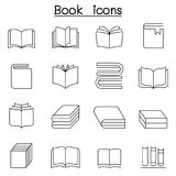Book icon set in thin line style royalty free illustration