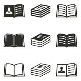 Book icon set. Book vector icons set. Black illustration isolated on white background for graphic and web design stock illustration