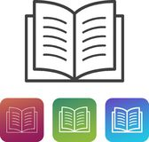 Book icon simple symbol / pictogram with additional thin and thick variants. Can symbolize documentation, manual, guide, reading, learning Royalty Free Stock Photos