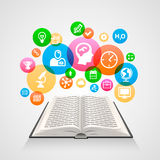 Book with icons art object Royalty Free Stock Photos