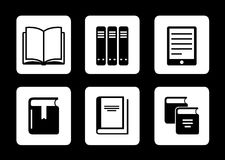 Book icons on black background Stock Photos